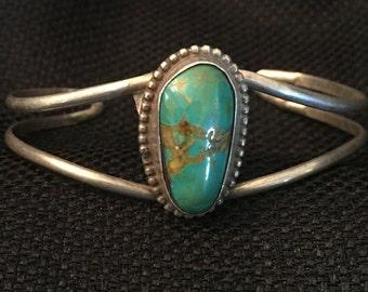 Vintage Old Pawn Sterling Silver Turquoise Native American Navajo Bracelet