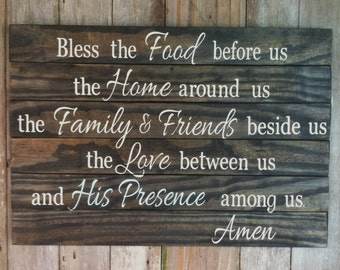 """Bless the Food before us Wood Sign Inspirational Prayer/Blessing with an extra line """"His Presence among us"""""""