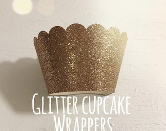 Glitter cupcake wrapper, Birthday, Wedding , Baby Shower, Bridal shower, Party ,Glitter , cupcakes,Green,Purple,Pink,Gold,Black, 12 wrappers