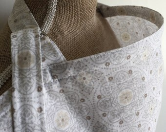 Nursing Cover Neutral Gray and Tan Mandala, Breastfeeding Cover Up, Breathable Nursing Cover