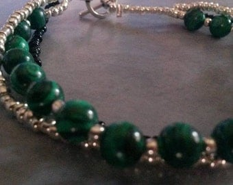Reconstituted malachite bracelet
