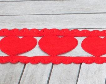 Red Felt Cut- Out Heart Garland