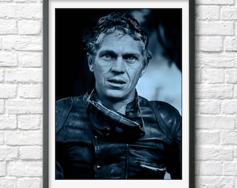 Steve McQueen print poster photo photograph cool vintage movie star Hollywood icon