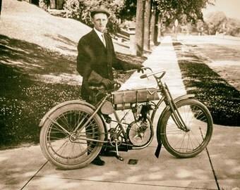 Vintage Harley Davidson photo print poster antique motorcycle photograph Walter Davidson 1900s PRINT