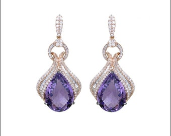 Amethyst Gemstone Diamond Earrings, 18k Rose Gold Dangle Drop Earrings