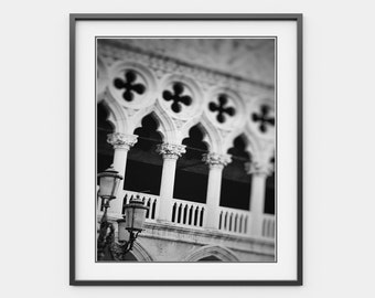 Venice Black And White, Venice Photography, Saint Mark's Square, Gothic Columns Art, Italy Art Print, Travel, Architecture, Wall Art, Decor