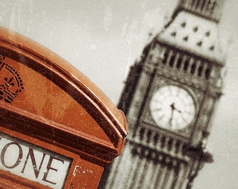 London Print, Big Ben Print, London Photography, Red Phone Box, Sepia, London Photo, London Decor, London Wall Art,Fine Art Print, Gift Home