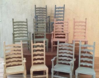 French Provencal Miniature Arm chair, Miniature Dollhouse Chairs, Farmhouse Chairs, Dollhouse Furniture, Miniature Chair Set, Miniatures