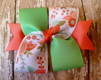 Mint and coral floral bow
