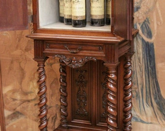 RARE Antique French Renaissance Walnut Wine Cabinet Beautiful Barley Twist Detail Sku#6694