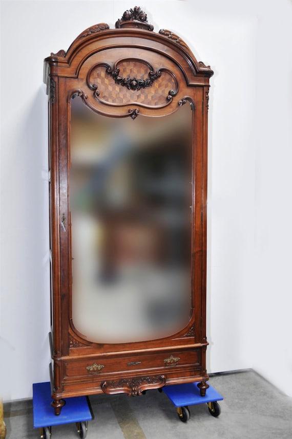 Antique french bedroom armoire single door model beveled glass for Single french door for bedroom