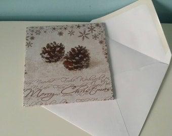 Wooden Christmas card sparkling pine cone! Handmade unique art card