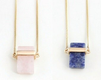 50% OFF Rose Quartz / Blue Lapis Stone Cube Pendant Necklace