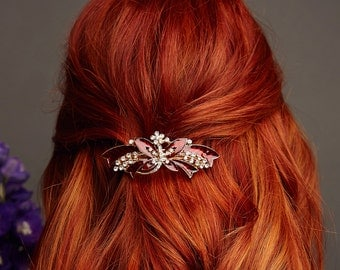 Butterfly Hair Clip Enamel Barrette Wedding Hair Clip Hair Accessory Large Hair Barrette Crystal Barrette Rhinestone Hair Clip Hair Jewelry