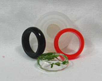 Clear Silicone MOLD, Transparent MOLD: Circle Convex ring -- US Sizes 5.5, 6.5, 7.5, 9   #RM005