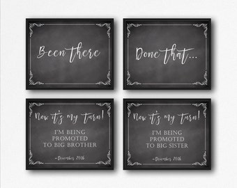 Pregnancy Announcement Props, Printable Pregnancy Signs, Baby Reveal Signs, Big Sister, Big Brother, Set of 3, Been There Done That