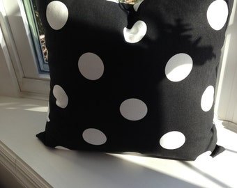 "Black and white polka dot pillow, pillow covers 20"" square, cushion cover"