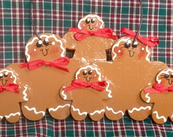 Gingerbread couple with 4 kids Handpainted personalized ornament!