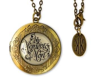 Gothic Victorian Memento Mori Antique Bronze Glass Keepsake Locket Necklace 132-BRLN