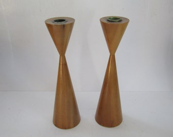 Danish Mid Century Myrtle Wood Candle Holders-Pair