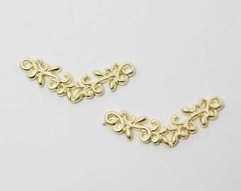 P0388/Anti-Tarnished Matte Gold Plating Over Brass/V Leaf Pendant Connector/26x10mm/2pcs