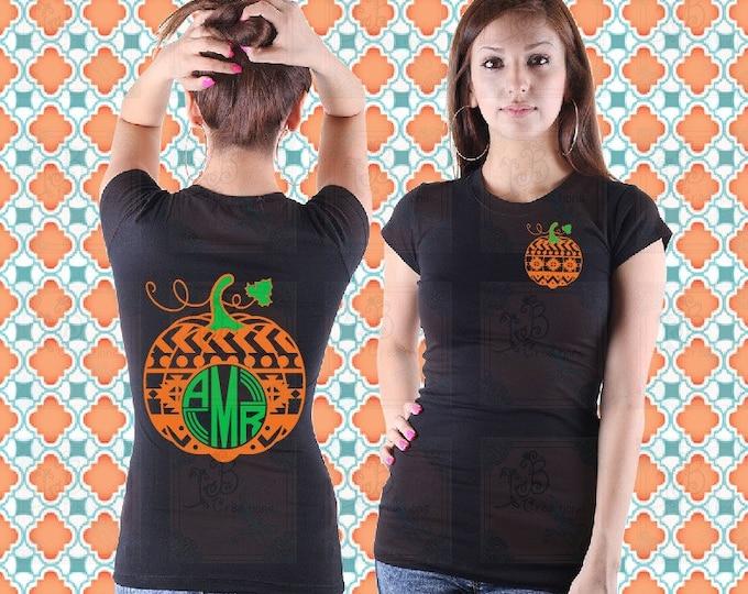 Aztec Pumpkin Design Roundline Monogram Shirts, Fall Shirts, Pumpkin patch shirts, October Fest Shirts, Thanksgiving Shirts