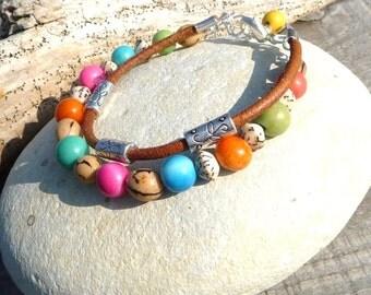 ethnic bracelet multicolor  vegetal seed bracelet  handmade ooak bracelet seed tagua leather bracelet