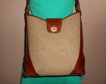 BRAHMIN Vintage Brown Leather/Fiber Shoulder Bag
