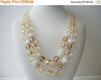 ON SALE Vintage Multi Strand CZ Glass Beads Necklace 71816