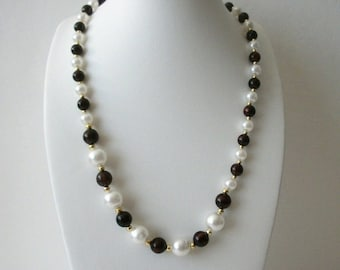 ON SALE Vintage 1970s Faux Pearls Dark Brown Gold Beaded Necklace 72116