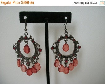 ON SALE Vintage Silver Shades Of Red Chandelier Earrings 1043