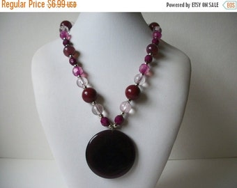 ON SALE Vintage Deep Purple Pendant Plastic Beads Necklace 688