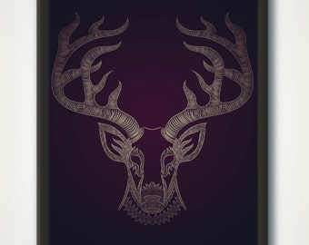 Deer Art Print, Woodlands Wall Poster, Animal Print, Wilderness Wall Art, Deer Head Line Drawing, Deer Antlers, Animal Drawing Printable Art