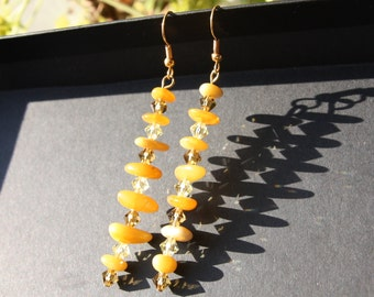 Natural Baltic Amber and Crystal Swarovsky Long earrings - Drops of Sunshine