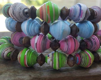 Children's recycled paper and natural wood bracelet. Mommy me child's bracelet small wrist upcycled repurposed eco-friendly jewelry rainbow.