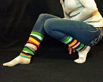"Not Quite Rainbow Ribbed Knit Upcycled Sweater 17.5"" Leg Warmers"