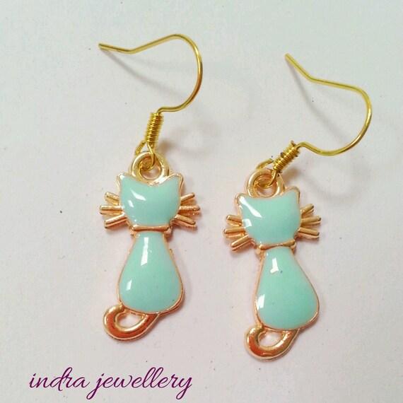 cat earrings blue cat earrings gold cat earrings animal