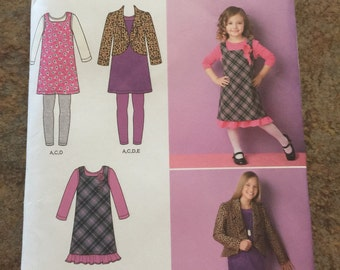 Childs/girls Jumper, Jacket, And Knit Leggings Dress or Top Pattern Size K5 7, 8, 20, 12, 14
