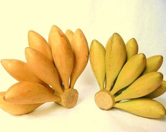 "Banana Cluster Wood Carving - Choose from Yellow or Green (or both) Folk Art Kitchen / Home Decor Each Size 4"" to 5"" Nine Bananas Per Bunch"