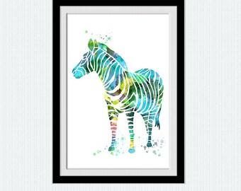 Zebra watercolor print Zebra art poster Animal colorful print Safari animal poster Home decoration Kids room art Nursery room decor W579