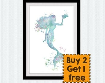 Mermaid art poster Mermaid decor Mermaid watercolor print Ocean fantasy art poster Nursery room decor Child room wall art Gift for girl W772