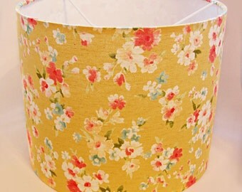 Golden Floral Drum Lampshade