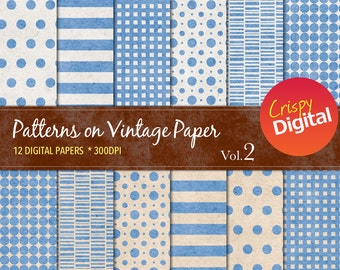 Patterns on Vintage Paper Blue Digital Papers 12pcs 300dpi Digital Download Collage Sheets Scrapbooking Printable Paper