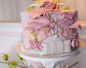 "fake faux cake mauve wedding topper  ""Velda"""