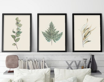 Australian Prints, Set of 3 Prints, Botanical Print Set, Botanical Set of 3, Ferns, Gum Leaves, Australian Poster, Downloadable Prints