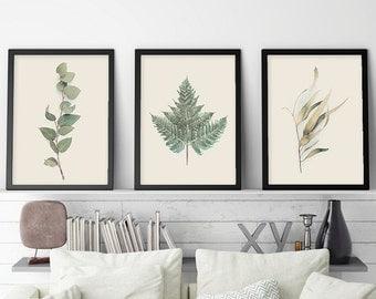 Australian Prints, Set of 3 Prints, Botanical Print Set, Botanical Set of 3, Ferns, Gum Leaves, Australian Poster, Downloadable Prints