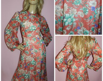 Vintage 70s Red/Multicoloured BOLD FLORAL print BALLOON slvd maxi dress 18 L 1970s Floaty