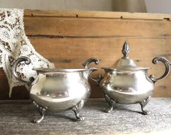 Vintage Bristol Silver Sugar and Creamer Poole Silver Plate Creamer and Sugar Bowl