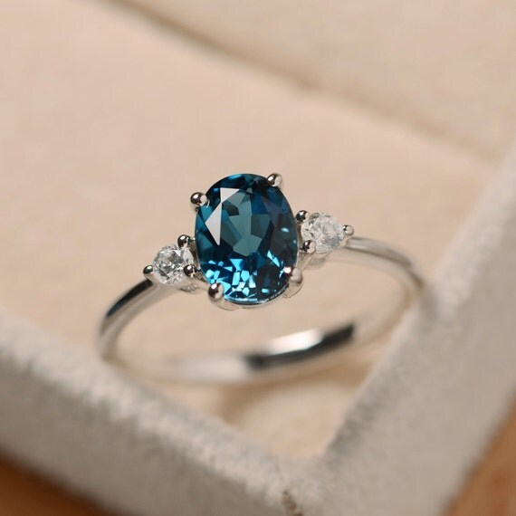 blue topaz ring oval gemstone ring sterling silver promise