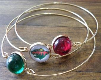 Minnesota Wild Bracelet, NHL Jewelry, Minnesota Wild Jewelry, Red and Green Bracelet, Glass Cabochon Jewelry, Hockey, Wild